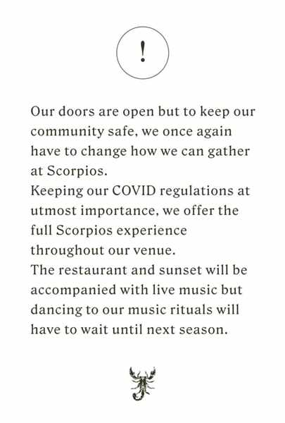 Scorpios Mykonos notice posted to social media on August 1