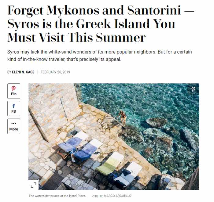 Travel + Leisure magazine article about Syros island