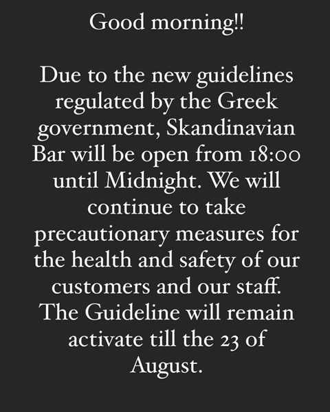 Skandinavian Bar Mykonos notice regarding hours of operation during August 2020