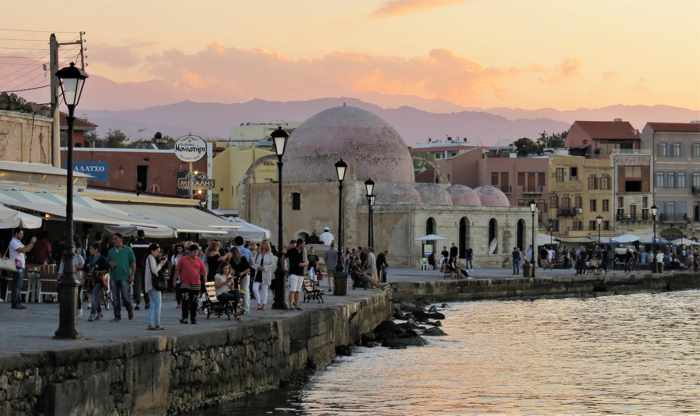 The historic harbour at Chania Crete