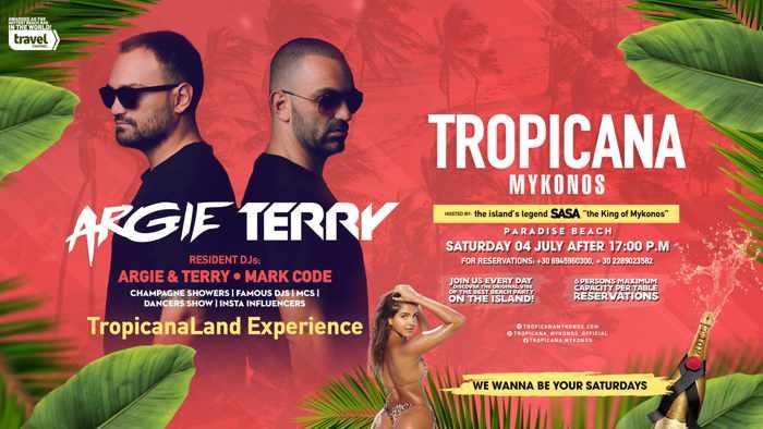 Tropicana beach club Mykonos Saturday event during summer 2020