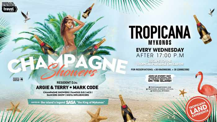 Tropicana beach club Mykonos champagne shower parties during summer 2020