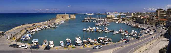 Venetian Harbour at Heraklion Crete seen in a photo by the municipality of Heraklion
