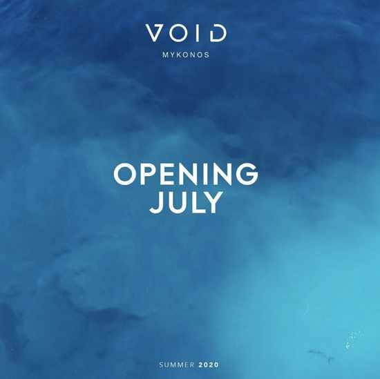 Void nightclub Mykonos announcement for summer 2020 opening