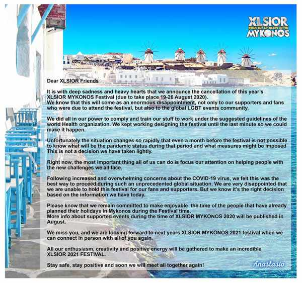 XLSIOR FEstival Mykonos cancellation notice for its 2020 event