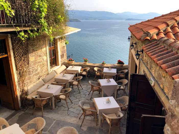 One of the patios at Di Vino restaurant in Molyvos on Lesvos island
