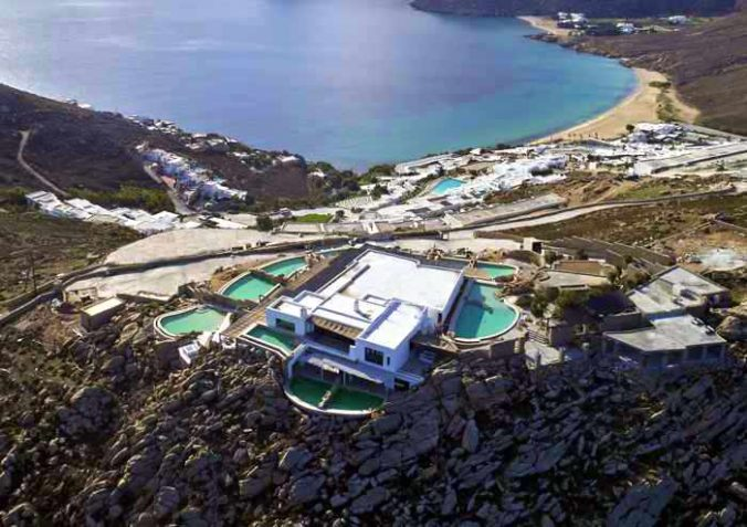 Aerial view of Panoptis Escape villas at Elia beach on Mykonos