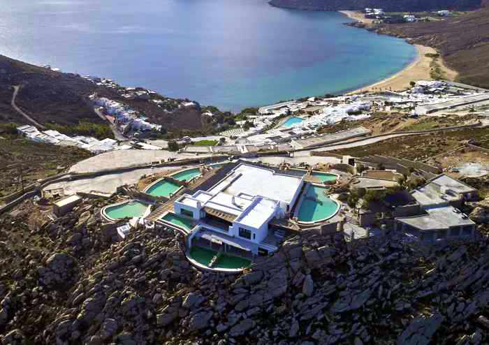 Aerial view of Panoptis Escape villas at Elia beach on Mykonos