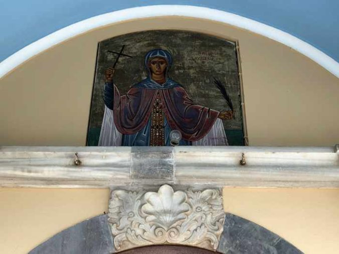 an icon above the entrance to Agia Kiriaki Church in Molyvos Lesvos
