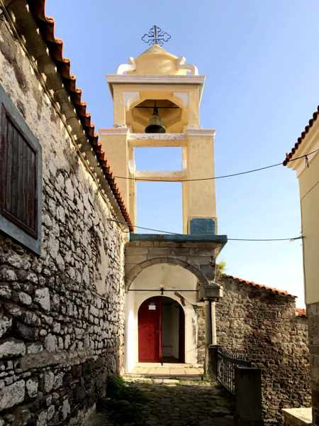 Belltower of Agios Panteleimonas Church in Molyvos on Lesvos island