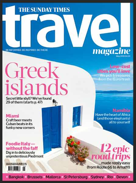 Cover of the May 2019 issue of The Sunday Times Travel Magazine