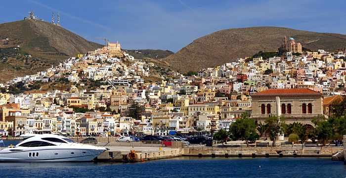 Port city of Ermoupoli on Syros island