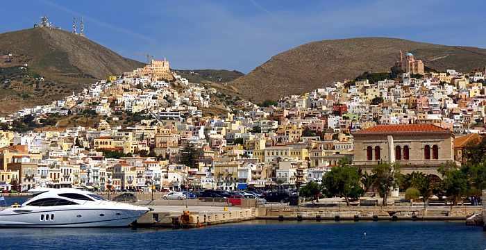 Port city of Ermoupoli on Syros island
