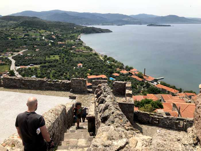 View from the flag pole tower at the Castle of Molyvos on Lesvos island