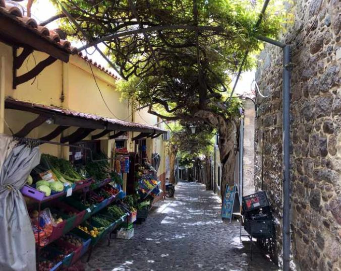 a fruit and vegetable shop in the old market area of Molyvos on Lesvos island