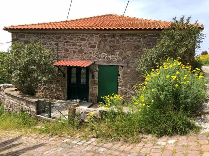 a stone house in Molyvos town on Lesvos island