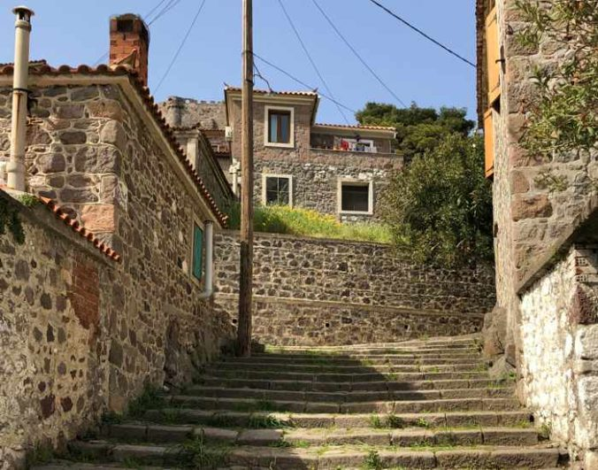 a lane of steps in Molyvos town on Lesvos island