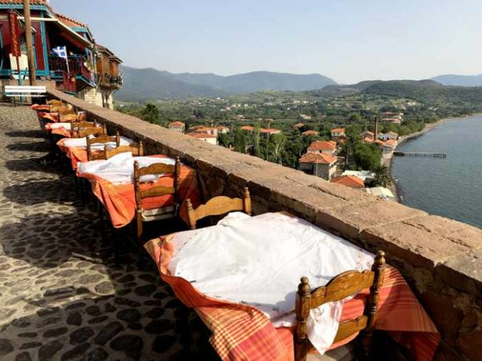 tables in the lane next to Bettys restaurant in Molyvos on Lesvos