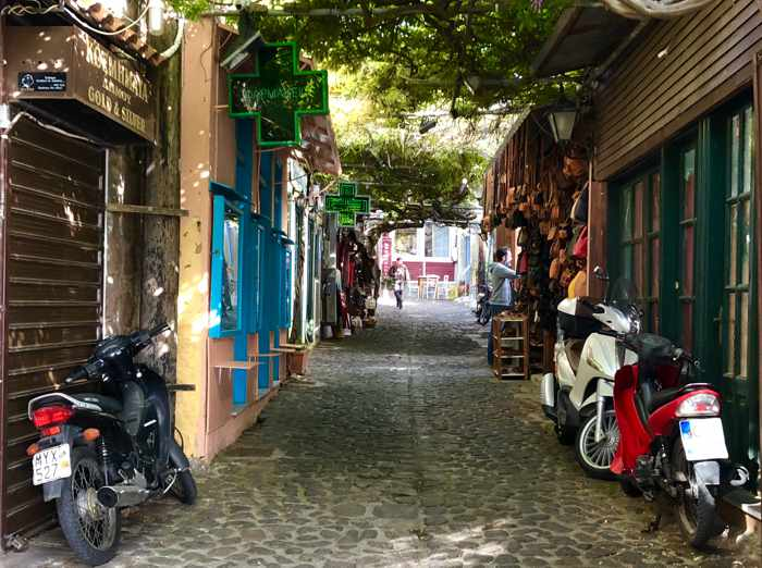 a lane in the traditional market area of Molyvos town on Lesvos island