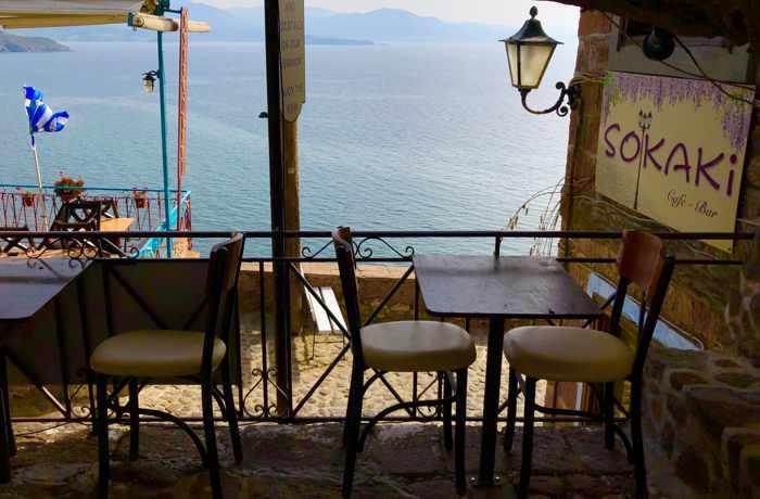 sea view seats at Sokaki cocktail bar in Molyvos on Lesvos island