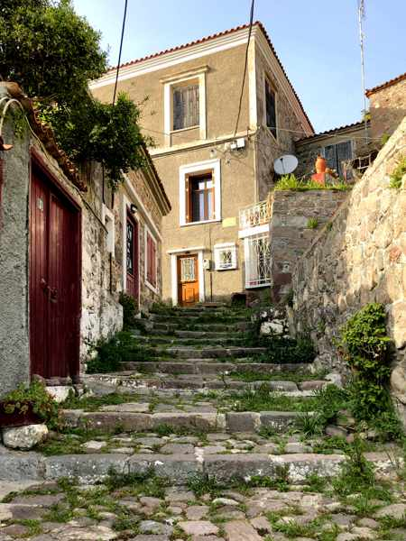 steps in a lane in Molyvos town on Lesvos island