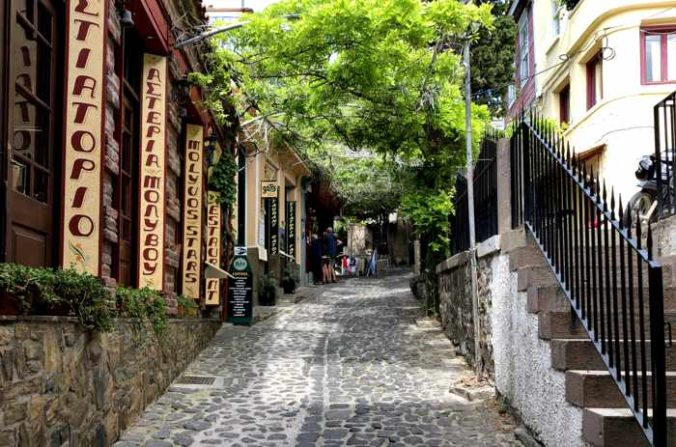 A lane in the traditional market in Molyvos on Lesvos island