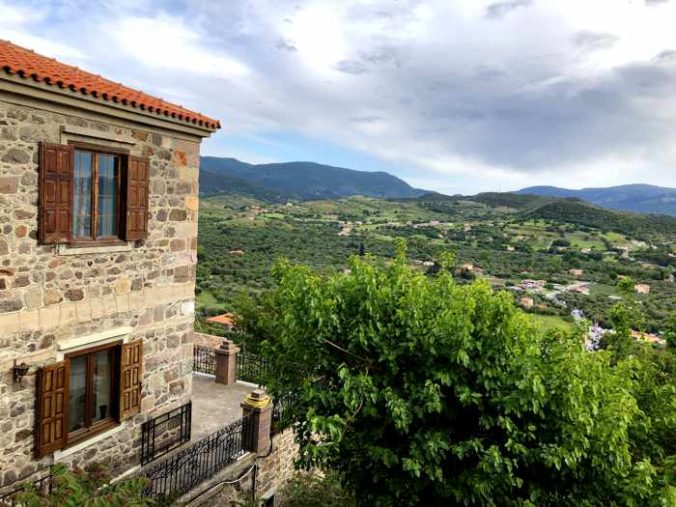 views from a hillside lane in Molyvos on Lesvos island