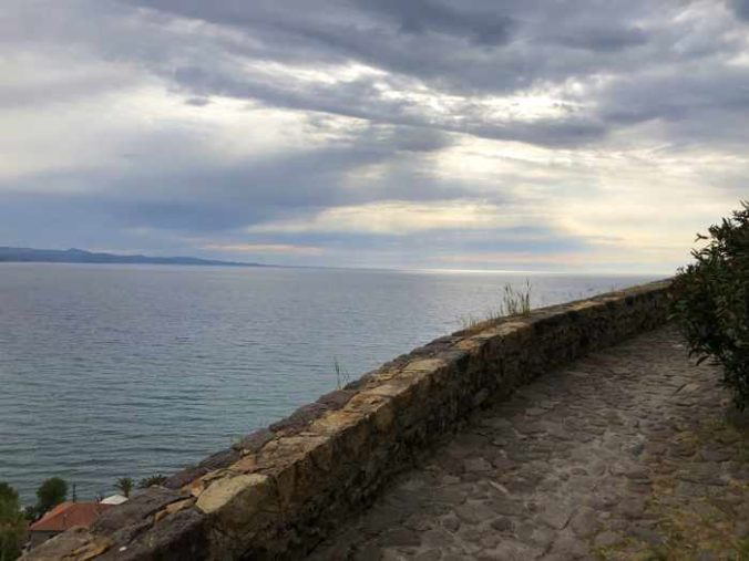 sea view from a hillside lane in Molyvos on Lesvos island
