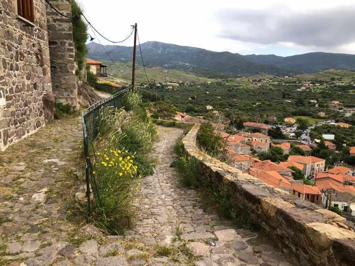 a hillside lane in Molyvos on Lesvos island