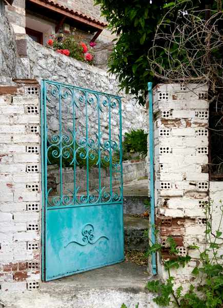 a gate in Molyvos on Lesvos island