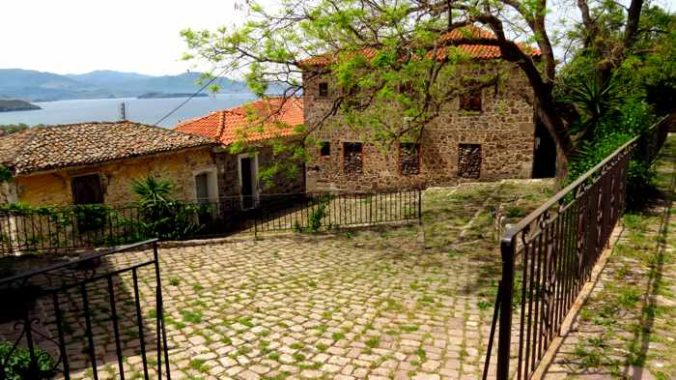 Rustic stone buildings in Molyvos on Lesvos island