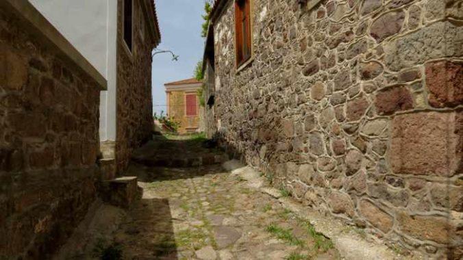 a lane in Molyvos town on Lesvos island