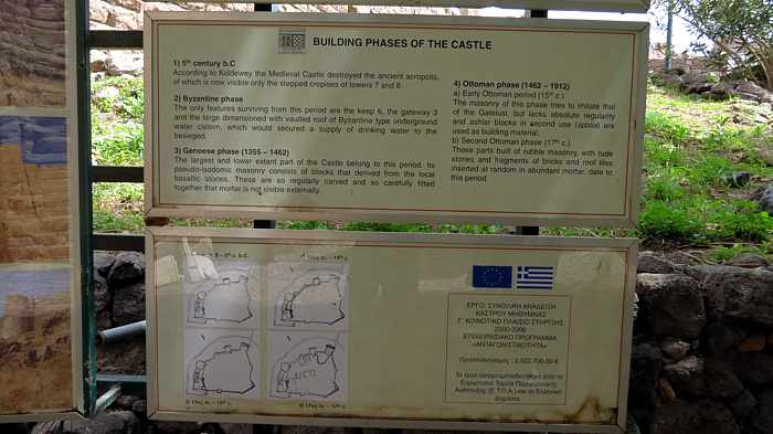 Information sign inside the Castle of Molyvos on Lesvos island