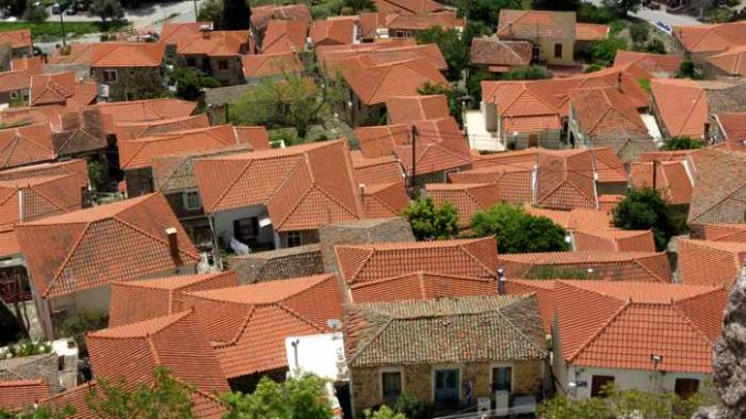 rooftops of houses below the Castle of Molyvos on Lesvos island