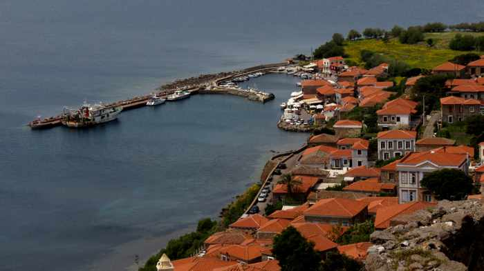 Molyvos harbour viewed from the Castle of Molyvos on Lesvos island