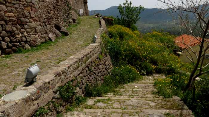 at the top of the stairs leading to the castle in Molyvos on Lesvos island