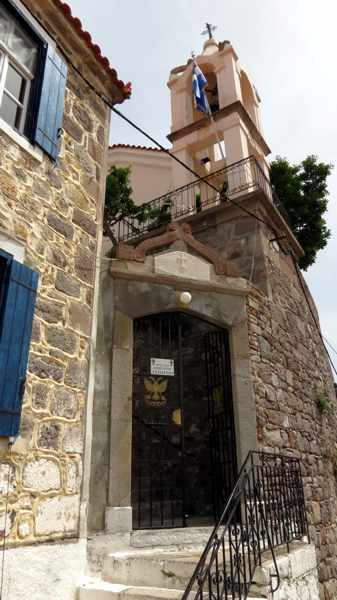 entrance gate to the Basilica of Taxiarchis in Molyvos Lesvos