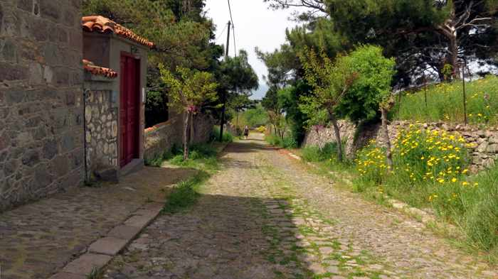 a lane in Molyvos town on Lesvos island