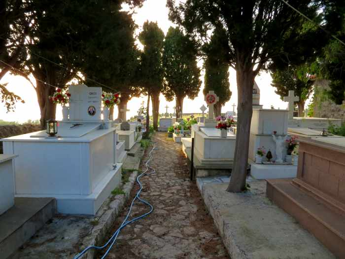 the cemetery at Molyvos town on Lesvos island