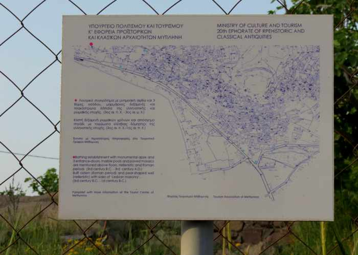 signage for an archaeological site in Molyvos on Lesvos island