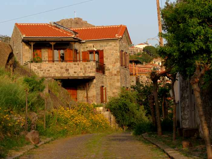 a restored mansion in Molyvos town on Lesvos island