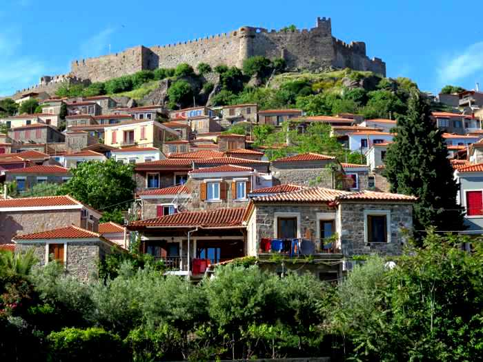 Houses on the hills below the Castle of Molyvos on Lesvos island