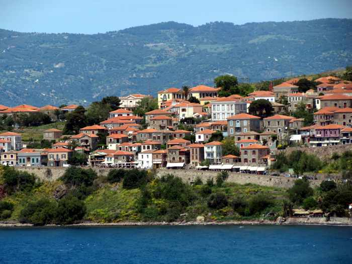 houses and buildings on a hill in Molyvos on Lesvos island