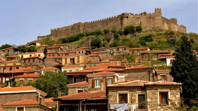The Castle and houses in the upper town areas of Molyvos on Lesvos island