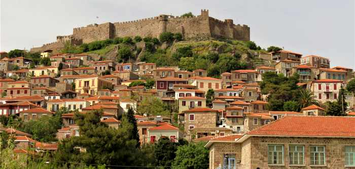 Molyvos Castle and houses in the town of Molyvos on Lesvos island