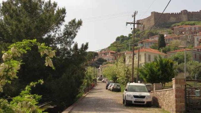 a street behind Agios Theoktisti Church in Molyvos on Lesvos island