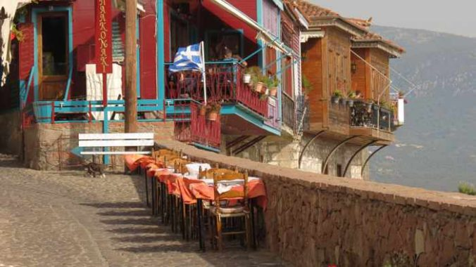 sea view seating at tavernas and bars in Molyvos on Lesvos island