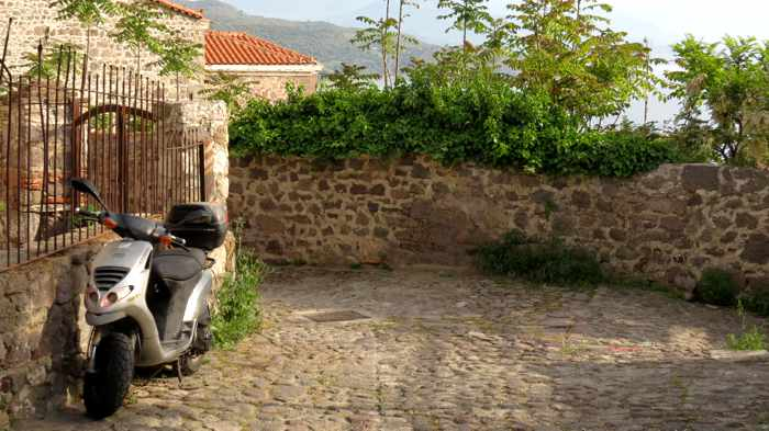 a cobblestone lane in Molyvos on Lesvos island