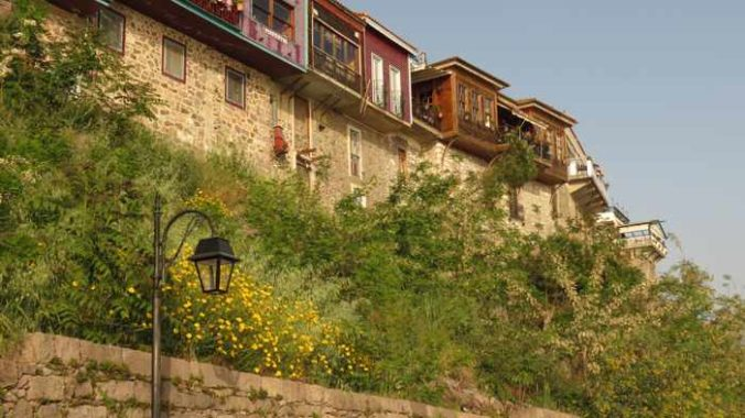 buildings in the traditional market district of Molyvos on Lesvos island