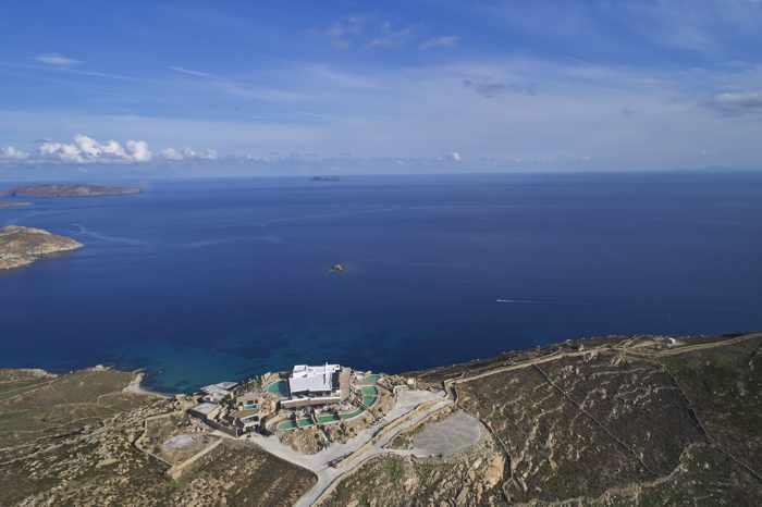 Daytime aerial view of Panoptis Escape villas on Mykonos